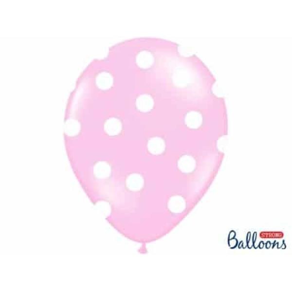 Balón bledoružový s bielymi bodkami, 30cm, 1ks