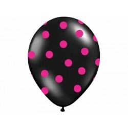 Balón čierny s ružovými bodkami, 30cm, 1ks