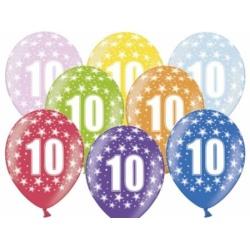 Balón číslo 10 metalický mix farieb, 35cm, 1ks