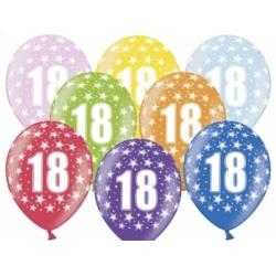 Balón číslo 18 metalický mix farieb, 35cm, 1ks