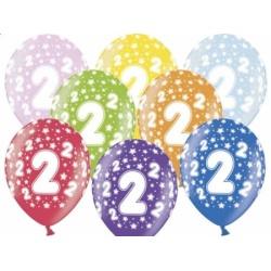 Balón číslo 2 metalický mix farieb, 35cm, 1ks