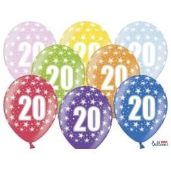 Balón číslo 20 metalický mix farieb, 30cm, 1ks