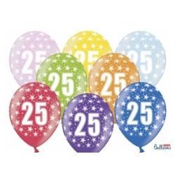 Balón číslo 25 metalický mix farieb, 35cm, 1ks