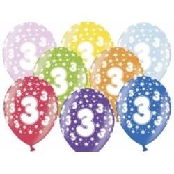 Balón číslo 3 metalický mix farieb, 30cm, 1ks