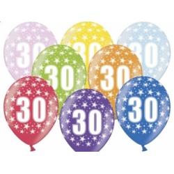 Balón číslo 30 metalický mix farieb, 35cm, 1ks