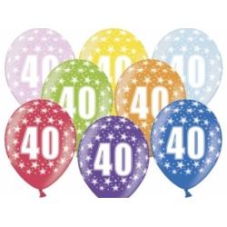 Balón číslo 40 metalický mix farieb, 35cm, 1ks