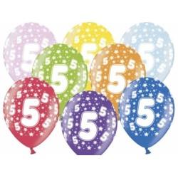 Balón číslo 5 metalický mix farieb, 35cm, 1ks