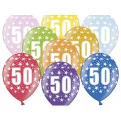 Balón číslo 50 metalický mix farieb, 35cm, 1ks