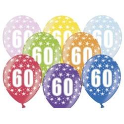 Balón číslo 60 metalický mix farieb, 35cm, 1ks