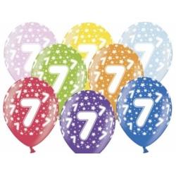 Balón číslo 7 metalický mix farieb, 35cm, 1ks