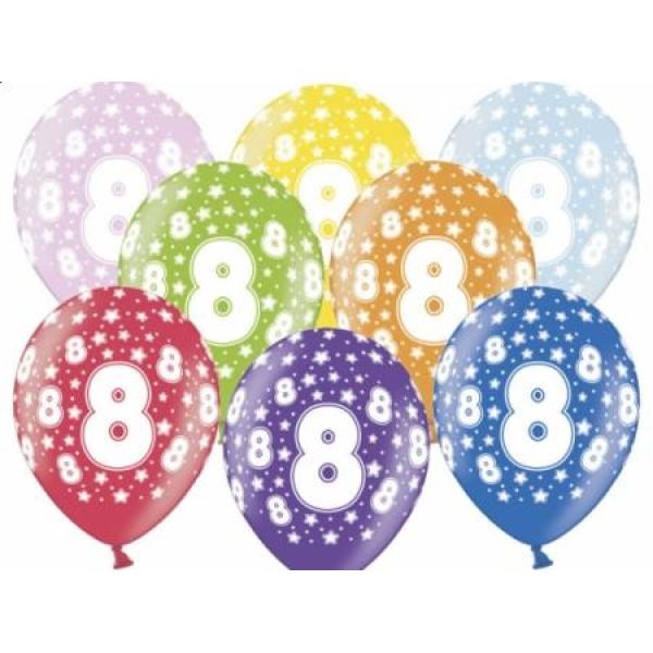 Balón číslo 8 metalický mix farieb, 35cm, 1ks
