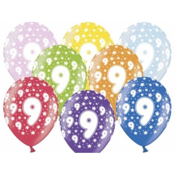 Balón číslo 9 metalický mix farieb, 35cm, 1ks