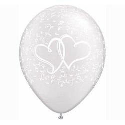 Balón dve srdcia metalické perleťové, 28cm, 1ks