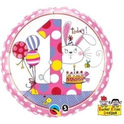 Balón fóliový 1. narodeniny dievča, 45cm
