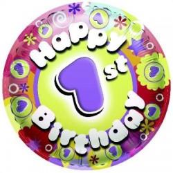 Balón fóliový 1 narodeniny Happy Birthday, 45cm