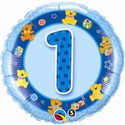 Balón fóliový 1 narodeniny modrý, 45cm