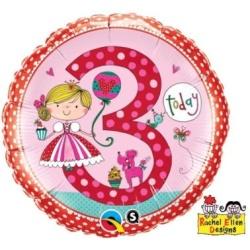 Balón fóliový 3. narodeniny dievča, 46cm