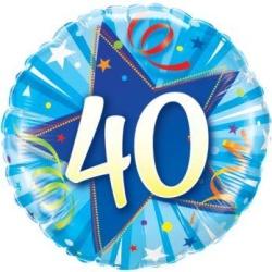 Balón fóliový 40. narodeniny modrý, 45cm