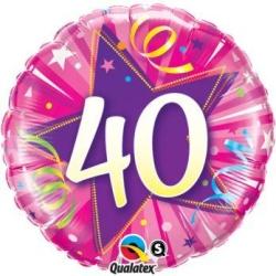 Balón fóliový 40. narodeniny ružový, 45cm
