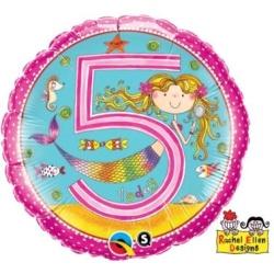 Balón fóliový 5. narodeniny dievča, 45cm