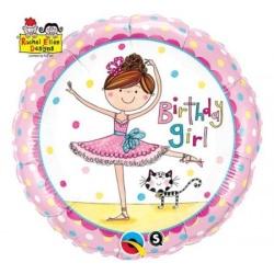 Balón fóliový Baletka Birthday Girl, 45cm