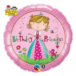 Balón fóliový Brithday Princess ružový