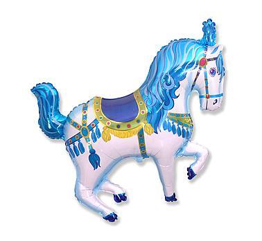 Balón fóliový cirkusový koník modrý, 35cm