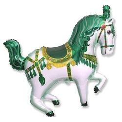 Balón fóliový cirkusový koník zelený, 35cm