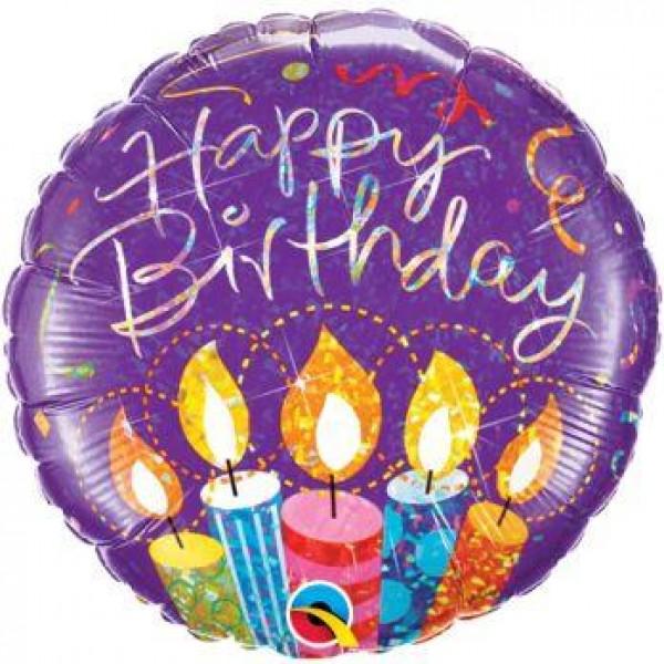 Balón fóliový Happy Birthday sviečky, 45cm
