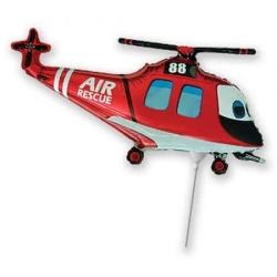 Balón fóliový helikoptéra záchranár, červená, 35cm