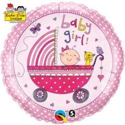 Balón fóliový kočík Baby Girl ružový, 45cm
