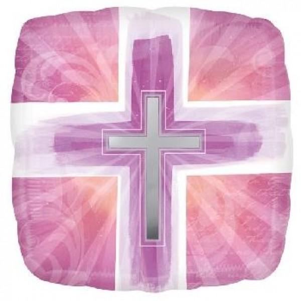 Balón fóliový Kríž ružový, 45cm