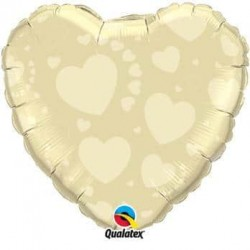 Balón fóliový srdce slonová kosť, 45cm