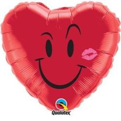 Balón fóliový srdce Úsmev červený, 45cm