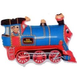 Balón fóliový vlak modrý, 35cm