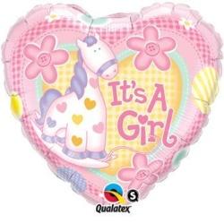 Balón fóliový Yes Im a Girl srdce, 45cm