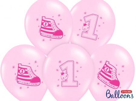 Balón NUMBER 1, svetlá ružová, 1ks,30cm
