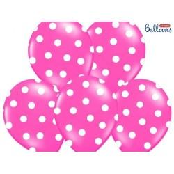 Balón ružový s bielymi bodkami, 30cm, 1ks