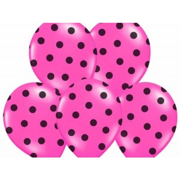 Balón ružový s čiernymi bodkami, 30cm, 1ks