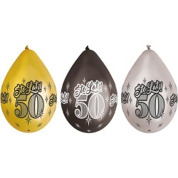Balón s potlačou 50. narodeniny, 30cm, 6ks