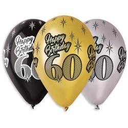 Balón s potlačou 60. narodeniny, 30cm, 6ks