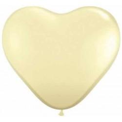 Balón srdce slonová kosť, 15cm, 1ks