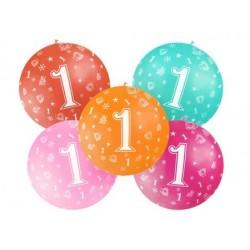 Balón veľký rôzne farby 1. narodeniny, 100cm