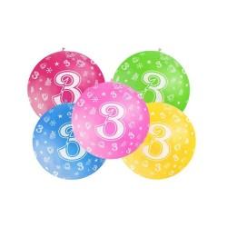 Balón veľký rôzne farby 3. narodeniny, 100cm