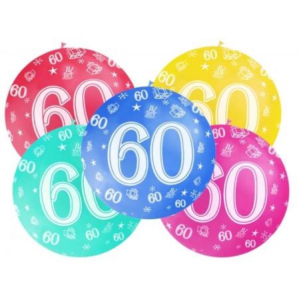 Balón veľký rôzne farby 60. narodeniny, 100cm