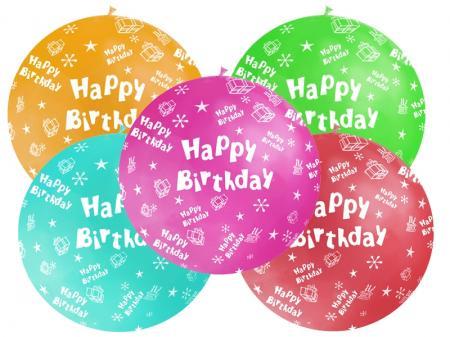 Balón veľký rôzne farby Happy Birthday, 100cm