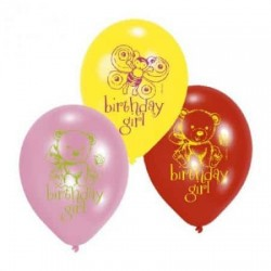 Balóny Birhday Girl, 23cm, 6ks