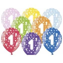 Balóny číslo 1 metalické, mix farieb, 35cm, 1ks