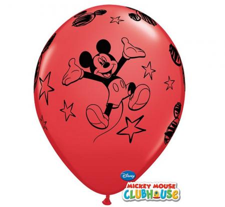 Balóny Mickey Mouse, pasteovýl červený, 30cm, 6ks