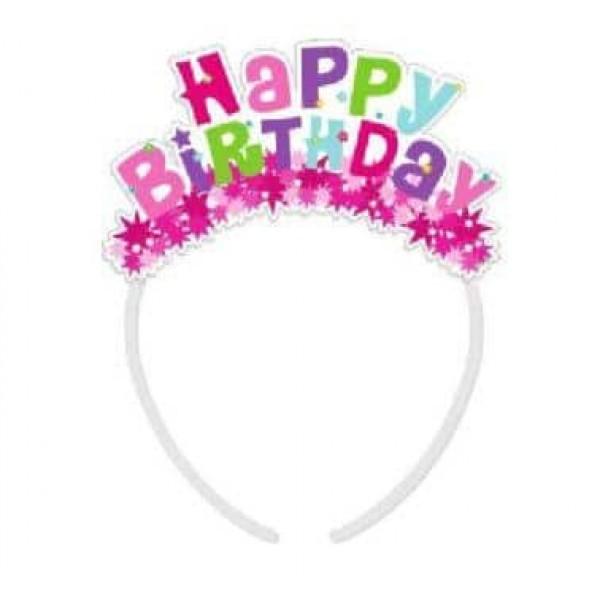 Čelenka ružová Happy Birthday, 4ks